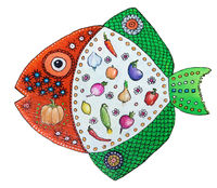 Funny cool fish painted with acrylics on a wooden surface isolated 2