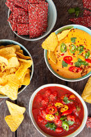 Tortilla chips and dips