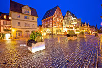 Rothenburg ob der Tauber. Main square or Marktplatz or Market square in Rothenburg ob der Tauber evening view
