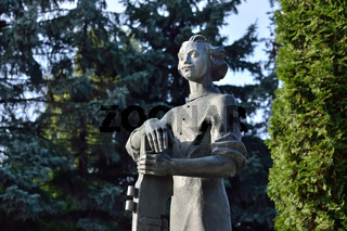 Kaliningrad, Russia - september 30, 2020: Monument to Peter the Great, Emperor Of Russia, on the island of Kant next to the Cathedral