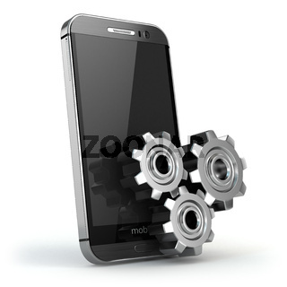 Mobile phone and gears. Settings
