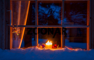 Snowy Wooden Window, Christmas Decoration and Candles