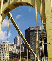 PITTSBURGH,PA/USA - 7-31-2017: Bridge view of the Pittsburgh downtown skyline.