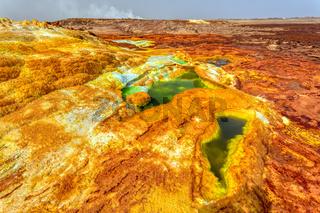 moonscape of Dallol Lake, Danakil depression Ethiopia