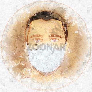 male with corona mask