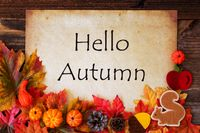 Old Paper With Hello Autumn, Colorful Autumn Decoration