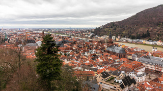 Panoramic view from Castle to the old downtown of City Heidelberg, Baden-Wuerttemberg, Germany. Europe