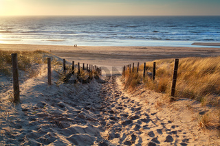 path to the sea at sunset