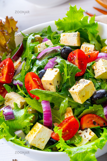 Greek salad with sheep's cheese a delicious classic.