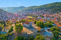 Blato on Korcula island. Historic town of Blato in church on the hill aerial view