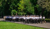 Young cadets sailors on the march