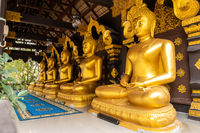 Row of Buddha Statues in Wat Phra That Doi Phra Chan