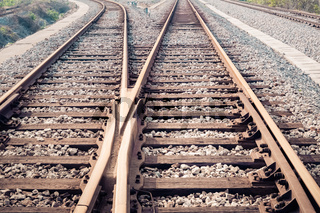 closeup of the railway track