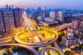 huangpu interchange in nightfall