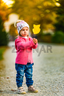 Baby girl in autumn park walking with yellow leaf.