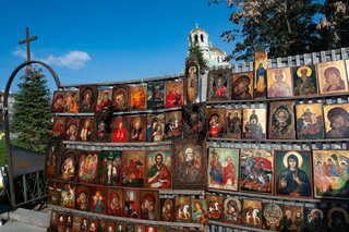 Religious Icons for sale at a flea market near Alexander Nevski Cathedral, Sofia, Bulgaria, Europe,
