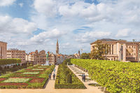 View over Brussels from Mont des Arts (Kunstberg) with Basilica, Sacré-Coeur (Koekelberg) in the bac