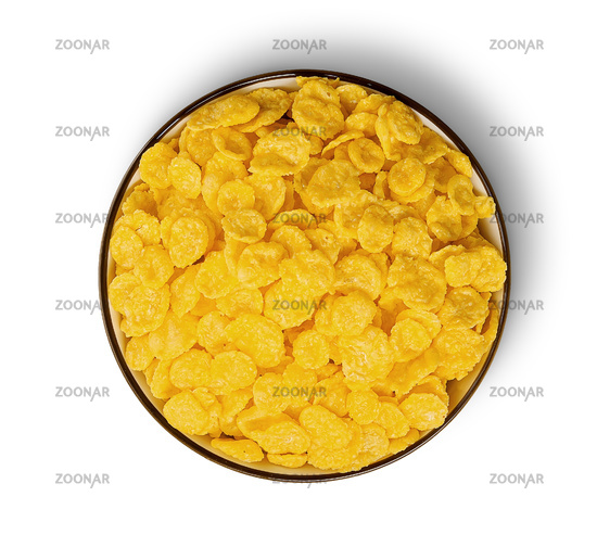 Cornflakes in bowl top view