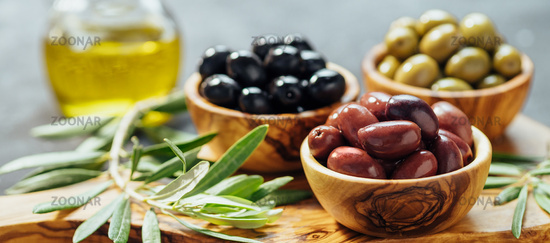 Set of olives and olive oil, banner, copy space