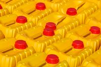 Yellow plastic canister for water or gasoline