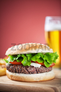 Fresh Hamburger With Beer. High quality photo
