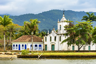 Famous church and colonial style house in the ancient and historic city of Paraty