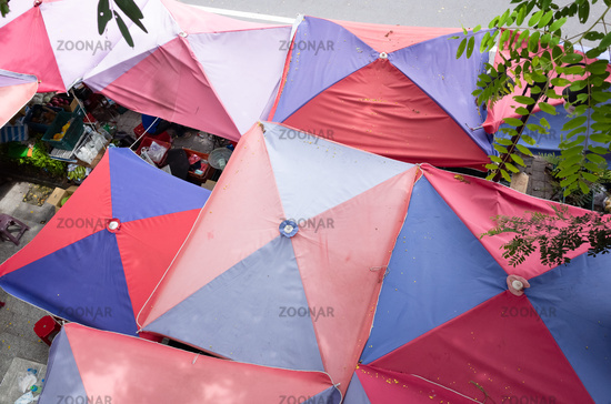 top view of big umbrella at traditional marketplace