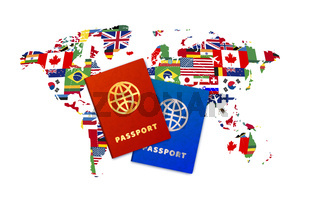 Couple bright passports on world map with flags of sovereign states on a white background