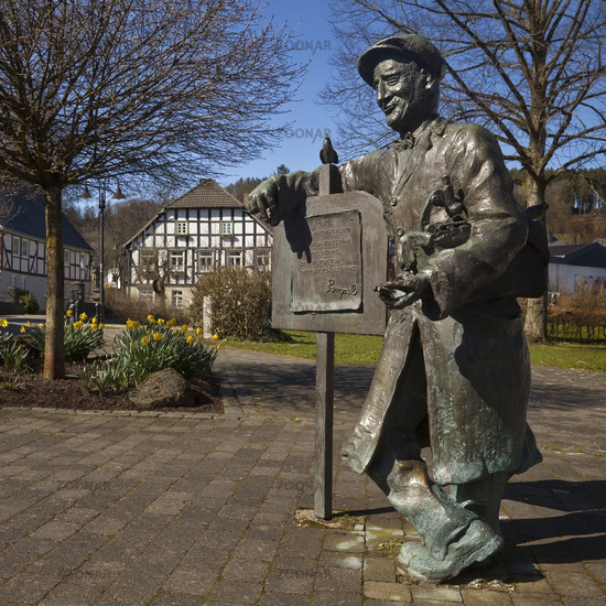 Pampel monument in the town center, Eslohe, Sauerland, North Rhine-Westphalia, Germany, Europe