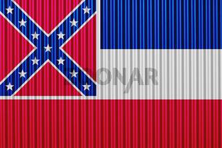 Fahne von Mississippi auf Wellblech - Flag of Mississippi on corrugated iron