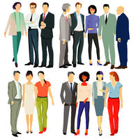 Diverse business people stand together