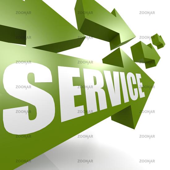 Service arrow in green
