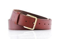 Brown leather belt on a white background with front reflection