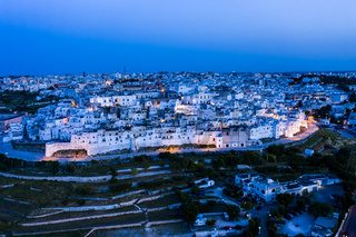 aerial view at dusk, Mountain village, Ostuni, Apulia, Southern Italy