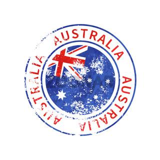 Australia sign, vintage grunge imprint with flag on white