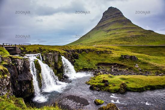 The waterfalls Kirkjoufellfoss