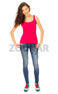Young girl in red shirt and blue jeans isolated