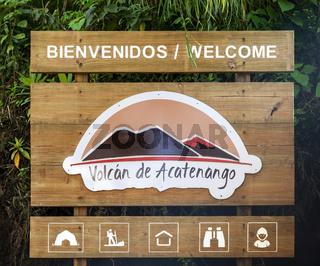 Acatenango Volcano Hiking Trail Sign