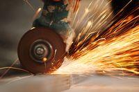metal sawing sparks