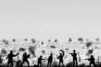 War concept. Military silhouettes fighting scene  background, Civil war soldiers silhouettes attack