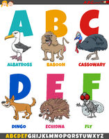 educational cartoon alphabet collection with funny animals