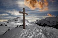 Summit cross above Lech am Arlberg