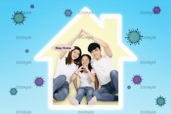 Family stay home. Quarantine or self-isolation. Health care concepts