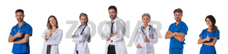 Set of portraits of doctors