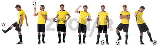 Soccer player set isolated