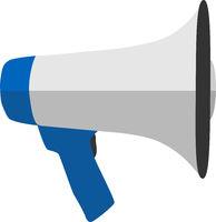 flat megaphone or bullhorn loudspeaker isolated on white