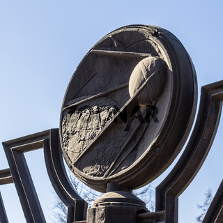 Entrance Plate with Sputnik of Rocket Monument to the Conquerors of Space on Memorial Museum of Cosmonautics in Moscow, Russia.