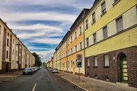 Schönebeck, Germany - June 20, 2020 - street with social housing