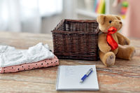 baby clothes, teddy bear, toy blocks and notebook