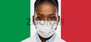 african american doctor in medical mask